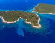 Aerial panorama of island Losinj in Zadar area, Croatia