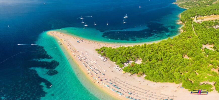 Famous Zlatni rat beach in Bol, Island Brac, Croatia, Europe