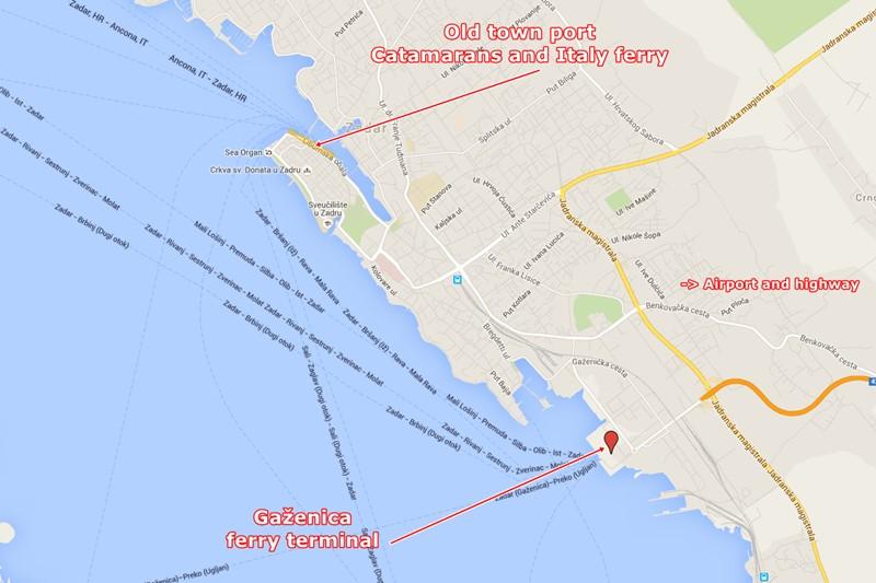 Zadar ferry ports